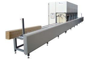 FLOW-COATER FOR THE IMPREGNATION OF BEAMS, DOORS, WINDOWS AND WOODEN PROFILES